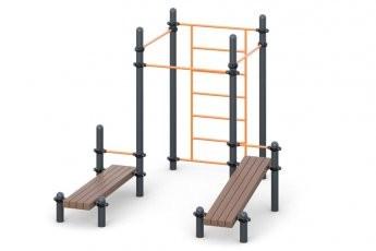 Шведская стенка, три турника классического хвата, две лавки для упражнений на пресс наклонных